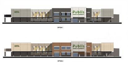 Elevations of Publix facade prototypes in 2020.