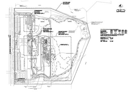 The new swamp buggy ride course is outlined in a dotted line, to the east of Gatorland's current attractions.