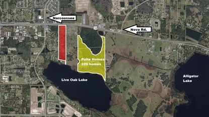 Pulte Homes has acquired a 127-acre lakefront property in St. Cloud (yellow) and plans to build 329 homes. The parcel marked in red has applied for Mixed-Use PUD with commercial and residential.