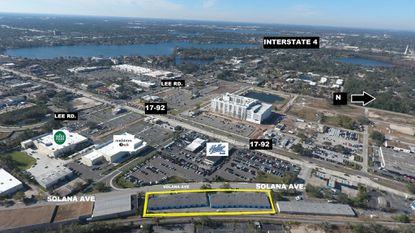 Outlined in yellow are the flex-industrial properties recently sold on Solana Avenue in Winter Park, near the new Whole Foods at Lee Road and Orlando Avenue.