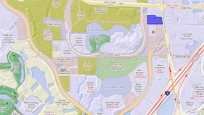 Highlighted in blue, the hotel formerly owned by Nik Patel in Lake Buena Vista, at 12490 S. Apopka-Vineland Road, is less than two miles from the entrance to Disney Springs.