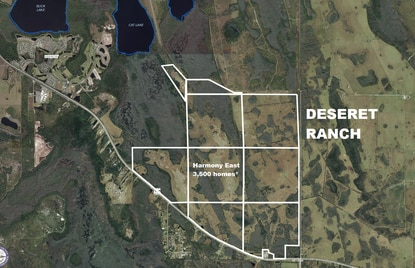 The Mormon Church's land company paid $9.9 million last week to buy more than 4,300 acres (in white) adjacent to Deseret Ranch in Osceola County.  The land was slated to be the final phase of the Harmony master-planned community and was entitled for more than 3,500 homes.