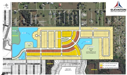 Elevation Development has filed a Preliminary Subdivision Plan for this 483-home community southwest of Kissimmee. The neighborhood would have a mix of townhomes and detached homes on 45-foot and 50-foot lots.