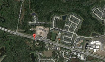 Marked on the map is the intersection of W. C.R. 419 and Cosmos Way in Oviedo.