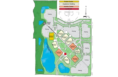 Valencia College owns 100 acres on E192, across from the Florida Tech Farm research park. The campus master plan adopted in 2002 calls for a total of 10 buildings circuling a campus quad. The college will seek funding for Building 5 in the next legislative session.