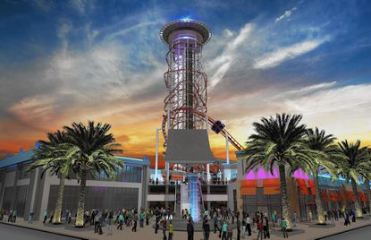 A rendering of one of the early concepts for the proposed Skyplex entertainment complex, planned for the corner of International Drive and Sand Lake Road, near Orlando.