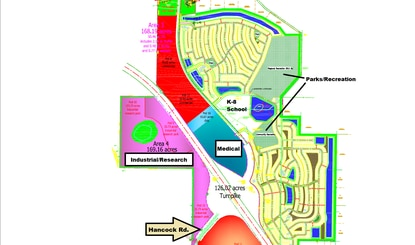 Sun Terra Communities will be seeking modifications to the Hills of Minneola PUD. The revised concept shifts all of the industrial and research park uses (pink) to the northwest quadrant of the Florida Turnpike interchange. The proposed medical campus and K-8 school sites have also be relocated.