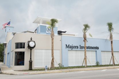 Partial view of the outside of the three-story corporate headquarters building of Majors Investments in Orlando's Ivanhoe Village, also home to the M Bar and M Lounge.