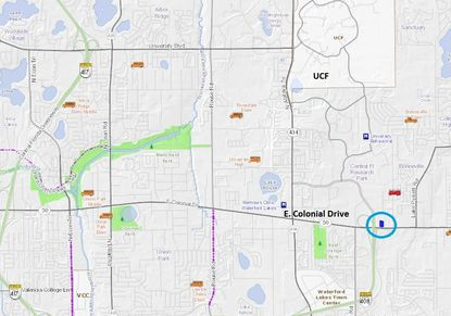 Circled in blue is the 1.59-acre site planned for a new self-storage facility on E. Colonial Drive, near the intersection with S.R. 408, between UCF and Waterford Lakes Town Center.