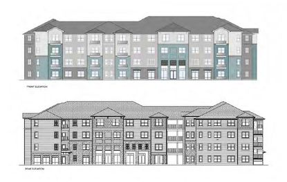 Conceptual elevations of buildings for MMI Development's proposed multifamily project in Eatonville.