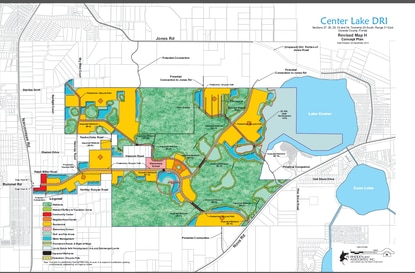 The Center Lake DRI was approved for more than 3,000 homes, with a main entrance on Narcoossee Road and stretching along Rummel Road. In this map, residential uses are shown in yellow, with neighborhood centers in orange. A future elementary school site is marked in pink.