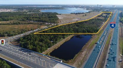 Outlined in yellow are the 38.8 acres owned by Excelsior Capital Partners between Palm Parkway and Interstate 4, north of Daryl Carter Parkway.
