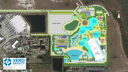 An original site plan from February for Xero Gravity Action Sports and Entertainment Resort.