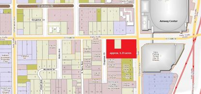 Highlighted in red are approximately 1.23 acres of city-owned land at the corner of W. South Street and Division Avenue in Downtown Orlando, under contract to Bags, Inc. They surround a 0.175-acre parcel (yellow) the company already owns.
