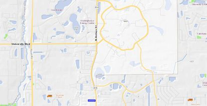 Highlighted in blue, the parcel under contract for purchase by the Chabad student group at UCF is just a few blocks south of UCF campus.