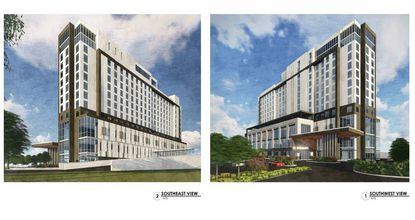 New renderings of the proposed 13-story, 300-room Le Meridien hotel for a site on Westwood Boulevard in Orlando.