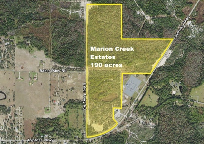 PIB is under contract to buy 190 acres on Cypress Parkway, pending a rezoning to allow for residential development.
