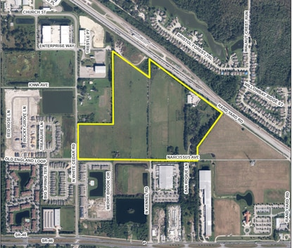 This aerial photo shows the location of the proposed NorthPort Industrial Park in Sanford. The property is mostly vacant pasture land once owned by Rand Farms LLC.