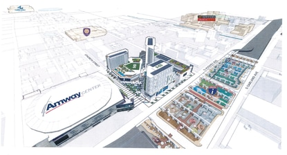 This rendering incorporates the new building heights, including a new 23-story residential tower, into the Orlando Magic Sports + Entertainment District.