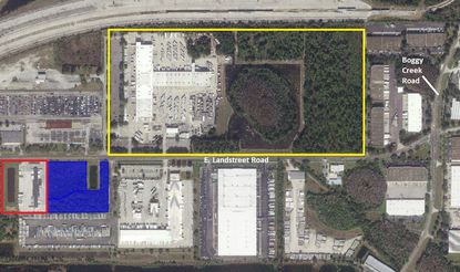 Highlighted in blue is the property on E. Landstreet Road that UPS acquired last week, which lies directly east of a new package sorting center (red) and across the street from its main distribution center in Orlando (yellow).