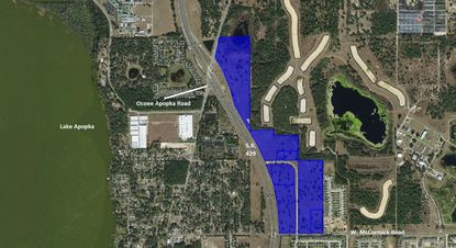 Highlighted in blue are the 99 acres that make up the planned Oak Pointe commercial and residential development in Apopka.