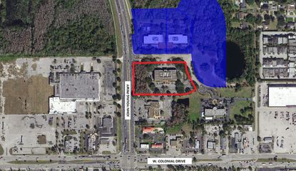 Highlighted in blue is land already owned by affiliates of Orlando Science School on Technology Drive, and outlined in red is a third office building the school now has an option contract to buy in the future.