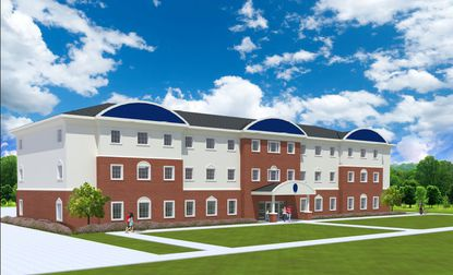 A rendering of the planned three-story dormitory building at Beacon College.