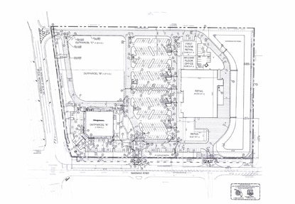 Shopping center developer Paradise Ventures has a contract on the 13-acre site at the corner of U.S. 27 and Sand Mine Road. The developer used this previously-approved site plan for discussion purposes during a pre-application meeting last week in Polk County.