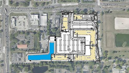 An aerial view and site plan of the proposed mixed-use project in Oviedo.