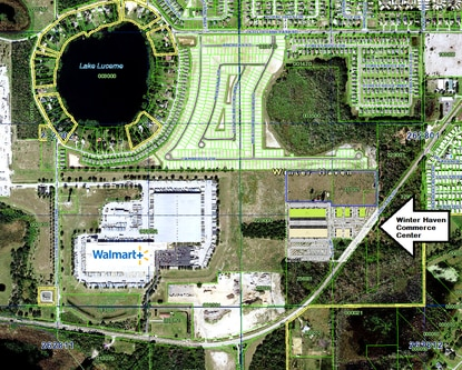 The Winter Haven Commerce Center site plan on Lucerne Park Road calls for seven industrial buildings and 10 acres for future development.