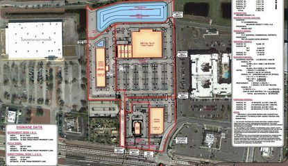 A site plan for marketing purposes of a 12.5-acre site in the 12000 block East Colonial Drive, with red lines signifying planned subdivision for a two-phase retail and hotel development.