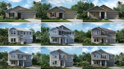 Elevations accompanying the final development plans for the Golden Orchard Estates subdivision feature a mix of single-story and two-story homes with a variety of different architectural designs.