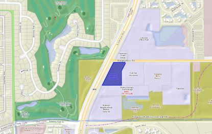 The 3.4-acre parcel highlighted in blue was recently acquired by Victory Real Estate Group.