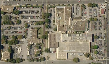 An aerial view of Tribune Real Estate Holdings' 18.69 acres spread across two blocks on N. Orange Avenue, with Concord Street running through the middle. The southern block (left side of photo) had been the target of Phase 1 redevelopment.