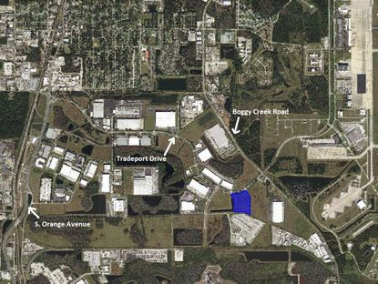 Highlighted in blue is the 12.98-acre parcel on Tradeport Drive where a new STIHL distribution center is planned for development. The property lies within the Liberty Park at AIPO industrial park.
