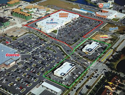 Outlined in green are the two multi-tenant retail outparcel buildings at the Gardens on Millenia project on Millenia Boulevard that sold last week. A separate big-box segment (red) sold to investors in late December.