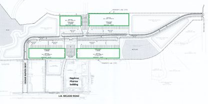 The conceptual site plan for the Kennedy Campus property off of LB McLeod Road shows the orientation of four potential new warehouse buildings, in relation to the Nephron Pharmaceuticals building that remains vacant and for sale.