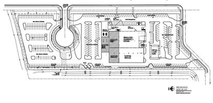 A site plan for proposed expansion of the showroom and service building at Fields BMW South Orlando, with the expansion area shaded in gray.