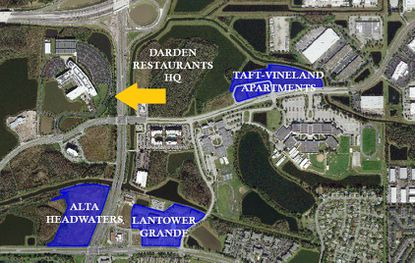 Highlighted in blue are properties associated with multifamily development firm Wood Partners.