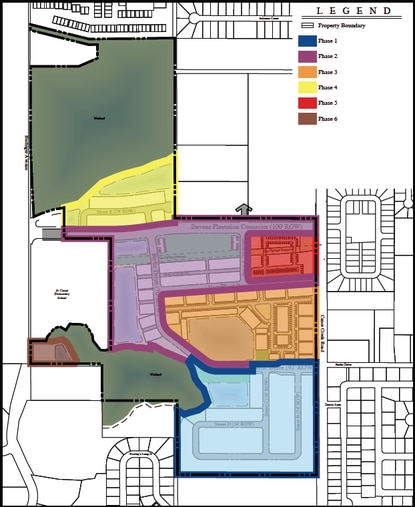 Avex Homes' phasing plan for Stevens Plantation would start from the south with a single family detached home subdivision (blue).