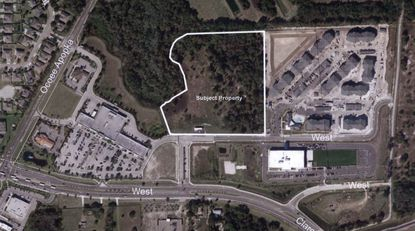 Outlined in white is the 11.7-acre parcel on Fountains West Boulevard in Ocoee targeted for development as a new self storage facility, daycare center and potential future city fire station.