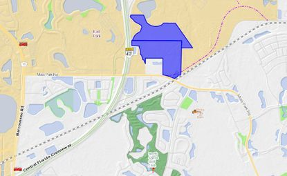 Highlighted in blue are the 108.37 acres under contract by Picerne Real Estate Group, northeast of the Moss Park Road and S.R. 417 intersection.