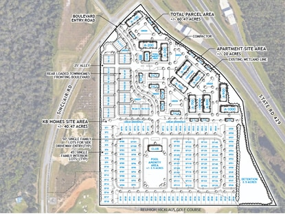 The preliminary site plan calls for a 348-unit apartment complex and a 221-home residential subdivision by KB Home at the Sinclair Road - S.R. 429 interchange.