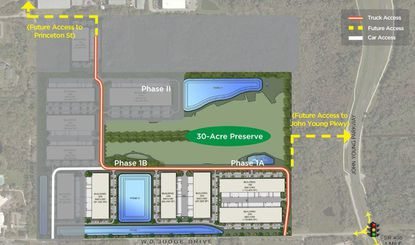 This aerial rendering projects the five Phase 1 buildings of Princeton Oaks Midtown Business Park, in the 3700 block of W.D. Judge Dr. in Orlando.