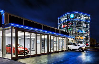 A look at the Carvana auto dealership in Nashville.
