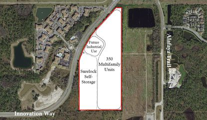 An aerial view the Cecil Redditt Land Use Plan at 4450 Innovation Way.