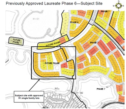 This 10-acre section of Lake Nona's Laureate Park was approved for 51-single family homesites. Tavistock wants to develop townhomes there instead.