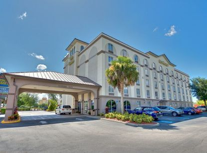 View of the Best Western hotel on Aircenter Court, northwest of Orlando International Airport.