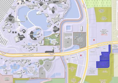 Highlighted in blue are 5.18 acres on the southeast corner of International Drive and Central Florida Parkway, across from SeaWorld, targeted by AD1 Global for two select-service hotels.
