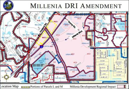 The last large piece of vacant land near the Mall of Millenia is for sale.